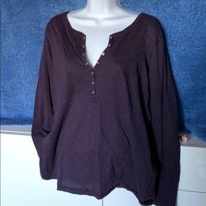 H&M L.O.G.G. Purple Snap V-Neck Henley sz XL
